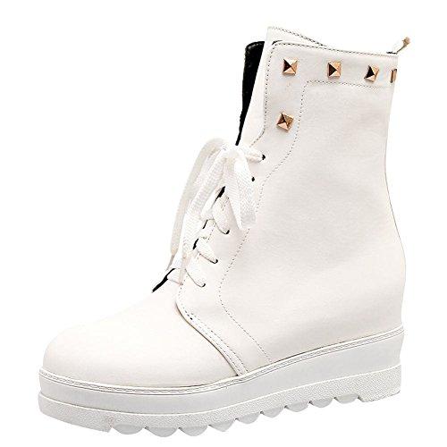 UH Femmes Bottes Chaussures à Talons Basse Compensees avec Rivets et Lacets Bout Rond Confortables Blanc