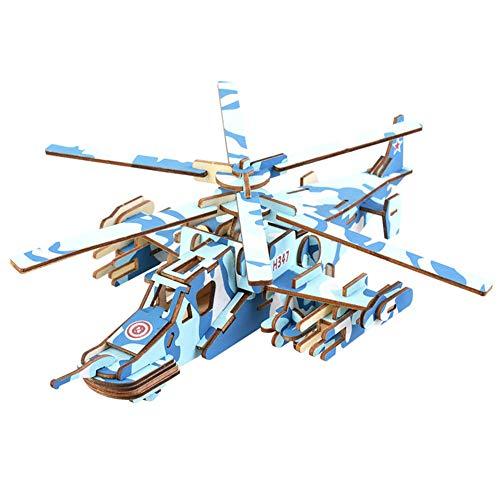 Artily 3D-Spielzeug für Jungen und Mädchen aus Holz, 3D-Puzzle-Spiel Kreative Flugzeug-Form Neuheit Kunst Craft Kit Puzzles für Erwachsene, Holz, blau, 31.5 * 25.2 * 10.8CM
