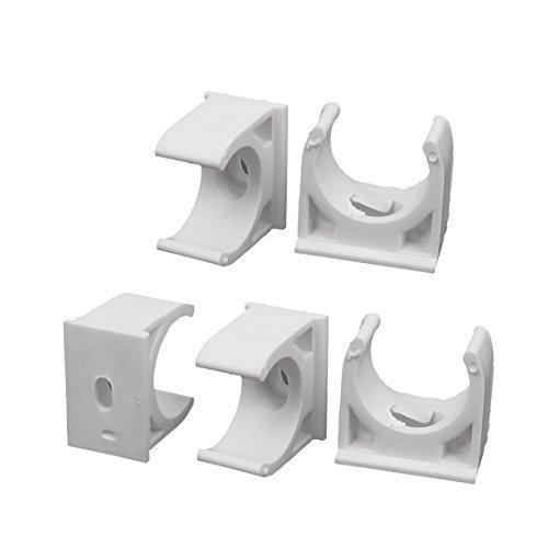 Preisvergleich Produktbild sourcingmap® 20mm Durchm. PVC Wasserversorgung Rohr Schlauch Klemme Einschnapp Klemmen weiß 5er Packung