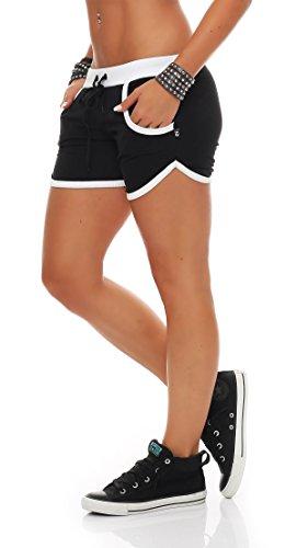 Hot Pant Hotpants Fitness Shorts,schwarz/weiß,Small ()