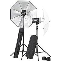 El poucesrom EL20748,2-équipement complet flash Studio BRX 250/250 Umbrella Noir