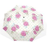 EZIOLY - Paraguas de Viaje con diseño de Lunares Florales Rosas, Ligero, Anti Rayos