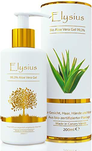 Aloe Vera Gel Bio 100% - für Gesicht, Haare und Körper - Natürliche, beruhigende und pflegende Feuchtigkeitscreme - Ideal für trockene, strapazierte Haut & Sonnenbrand - 200ml Glasflasche by Elysius -