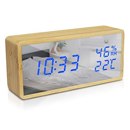 Navaris Reloj Digital de Madera con Carga USB y LED Azul - Despertador con 3 alarmas indicador de Humedad...