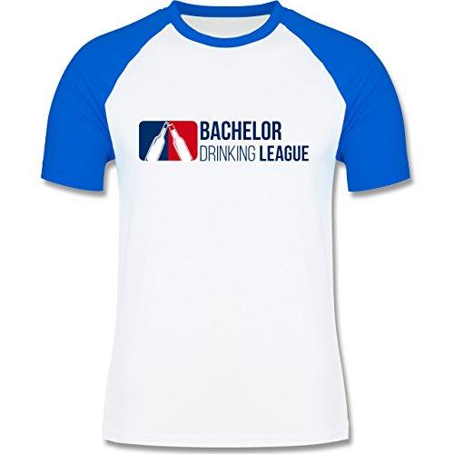 JGA Junggesellenabschied - Bachelor Drinking League - zweifarbiges Baseballshirt für Männer Weiß/Royalblau