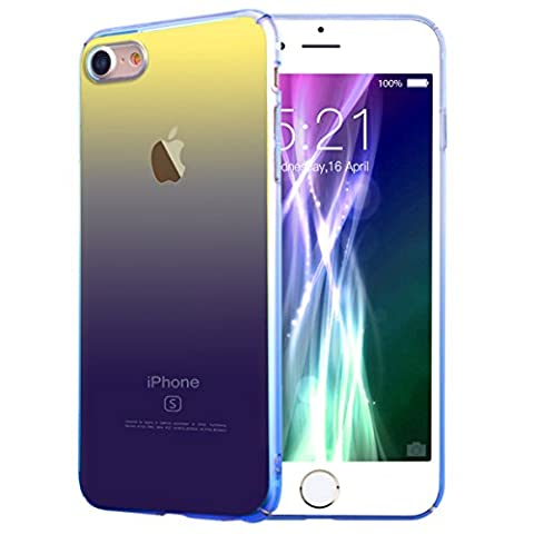 VemMore iPhone 7 Gradient Ramp Colorful Case, Anti-Fingerprint Blu-Ray Ultra Thin Smooth Transparent Clear PC Hard Back Shell Protective Smartphone Case Gradual Change Color Protector Cover for Apple iPhone 7 -