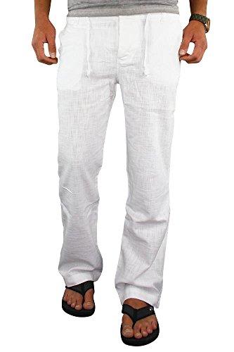 Merish Herren Leinenhose Leinen Hose Chino Jeans Sommerhose Strandhose 69  Weiß W32 L33 28f96e0dd0