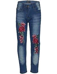 A2Z 4 - Pantalones vaqueros elásticos para niños y niñas, diseño de rosas bordadas, pantalones de mezclilla de moda para niños de 3 4 5 6 7 8 9 10 11 12 años
