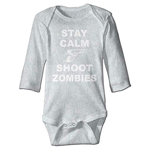 MSGDF Unisex Newborn Bodysuits Stay Calm Shoot Zombies Girls Babysuit Long Sleeve Jumpsuit Sunsuit Outfit Ash -