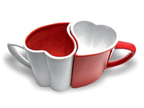 Oramics coppia di mug per gli amanti–a forma di cuori–colori rosso e bianco
