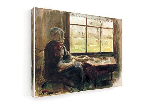 Max Liebermann, Holländische Frau am Fenster - 40x30 cm - Leinwandbild auf Keilrahmen - Wand-Bild - Kunst, Gemälde, Foto, Bild auf Leinwand - Alte Meister / Museum
