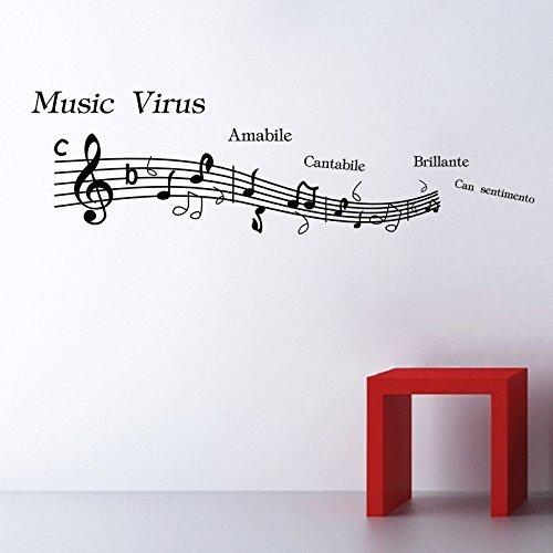 Aufkleber schwarz Musik Note Creative Vinyl Wand Aufkleber Musik Room Home Decor Größe 43,2x 152,4cm ()