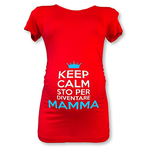 T shirt maglia premaman mezza manica keep calm sto per diventare mamma rossa maschietto xl
