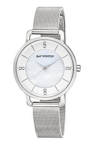 Ray Winton fin Femme analogique Nacre Cadran Argent Maille en acier inoxydable Bracelet de montre