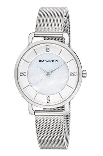 Ray Winton Slim Damen Analog Mutter von Pearl Zifferblatt Silber Edelstahl Mesh Armband Armbanduhr (Mop Slim)