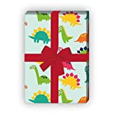Lustiges Comic Dinosaurier Kinder Geschenkpapier Set (4 Blatt) für tolle Geschenk Verpackung (4 Bögen, 32 x 48cm), auf hellblau