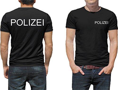 Polizei T-Shirt Druck Unisex Baumwolle Fruit of The Loom Neu (M, T-Shirt Farbe Schwarz / Druck Farbe Weiß)