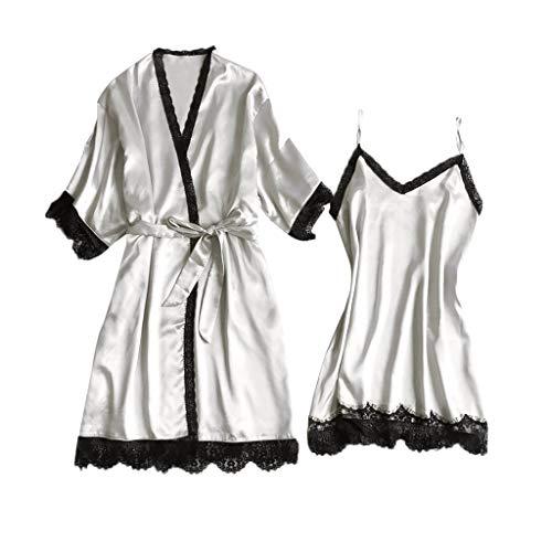 Bellelove Damen Nachthemd Sexy Nachtkleid Zwei Stücke Sleepwear Set Trägerkleid Satin Morgenmantel Chemise Pyjama Robe V Aussschnitt Schlafshirt mit Gürtel Spitze Patchwork Kimono Nachtwäsche