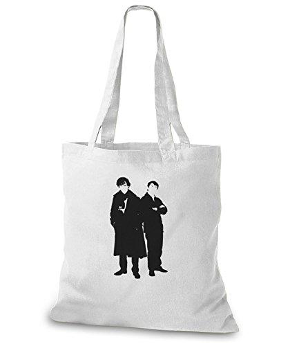StyloBags Jutebeutel / Tasche Sherlock and Watson Weiß