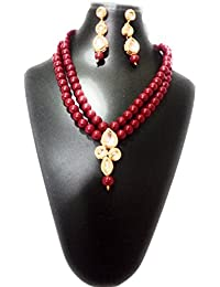 Stylish Pearl & Kundan Necklace Set With Earings For Women