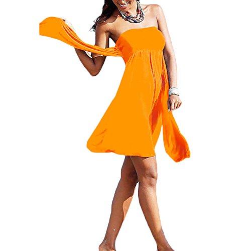 JIAJIA, vestito da mare elastico da donna, Halter Bandeau Orange