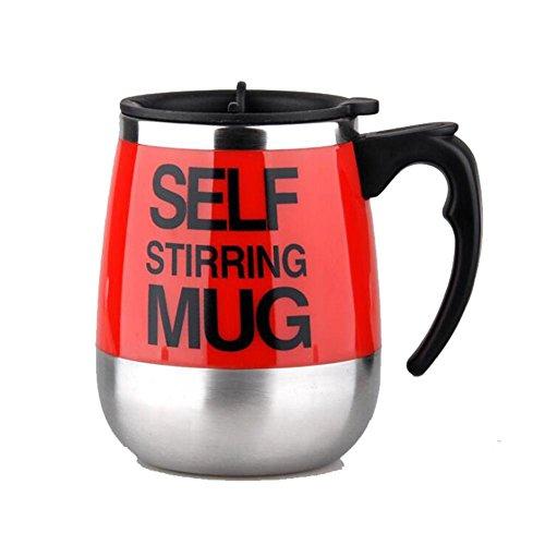 U Self Stirring Mug Magnetischer mischender Becher Selbst rührende Kaffeetasse Edelstahl Selbstmagnetbecher für Kaffee Tee heiße Schokoladen Milch Kakao Protein, Red, 450ml