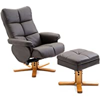 Homcom Fauteuil Relax inclinable Style Contemporain Repose-Pieds Coffre Rangement Simili Cuir Acier Bois Chocolat 59
