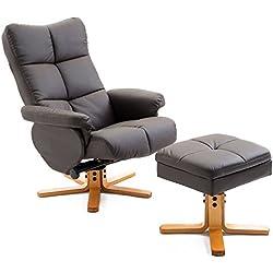 Homcom Fauteuil Relax inclinable Style Contemporain Repose-Pieds Coffre Rangement Simili Cuir Acier Bois Chocolat