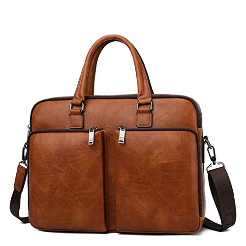 Männer Laptop-Geschäfts-Beutel-Handtaschen High-End-Aktenkoffer große Kapazitäts-Leder-Umhängetasche 6674 Orange -