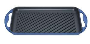 Le creuset plat carré 20126002000460 plaque en fonte bleu marseille 32 cm
