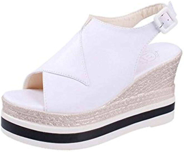 Zapatos de Mujer de Verano Nuevas Sandalias con Tacón Alto Versión Coreana de la Boca de Pescado Muffin Sandalias...