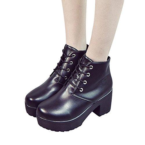 Stiefel Damen Boots Mode Ankle Schuhe High Heels Stiefel Oxford Leder  Freizeitschuhe Stiefeletten Kurze Winterstiefel ABsoar f255ab005d
