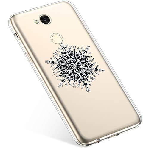 Uposao Handyhülle Weihnachten Sony Xperia XA2 Ultra TPU Silikon Schutzhülle Weich Transparent Kristall Klar Dünn Handyhülle Backcover TPU Bumper Case Handytasche,Schneeflocken Baum