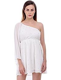 Bonhomie Women Off White One Sholder Sleeve Dress