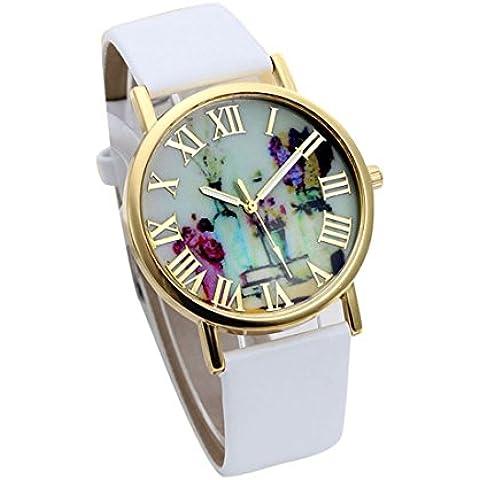 Tongshi Mujeres floreros dial de la manera del cuero banda de cuarzo analógico relojes de pulsera (Blanco)