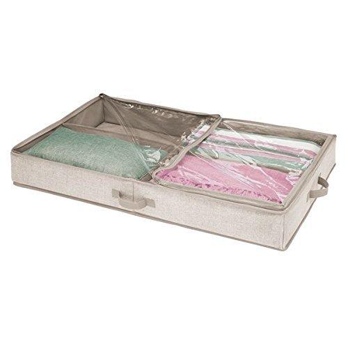 mDesign Unterbettkommode mit 4 praktischen Fächern - Unterbett Aufbewahrungsbox für Kleidung und Schuhe - platzsparende Kleideraufbewahrung aus atmungsaktivem Polypropylen - leinen