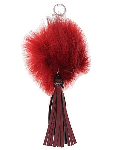 Leslii roter Damen-Schlüssel-anhänger Fell-Bommel Kunst-Fell mit Lederimitat Länge 23cm in Rot