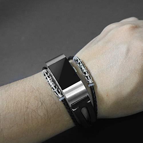 Altsommer Armband Leder für Fitbit Charge 2 Armband,Fashion Business Leder Ersatz Armband mit Metallschnalle, Armband Metall Klassische Schnalle Sport Bügel für Damen Herren (Schwarz) - Fitbit-armband Faltschließe