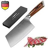 Cuchillo asiático hecho del acero inoxidable carbonatado alemán alto, cuchillo de cocina chino de los 18cm para el uso de fines múltiples, caja de regalo del cuchillo del cocinero