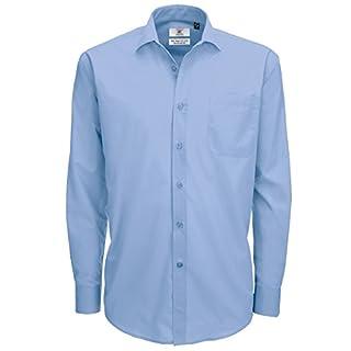 B&C Mens Smart Long Sleeve Poplin Shirt (Business Blue 000), 18 (Size:2XL)