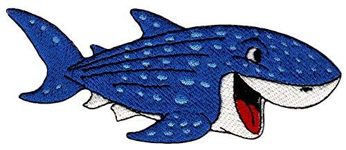 Patch Haifisch Blau Aufnäher Bügelbild Größe 11,2 x 4,2 cm -