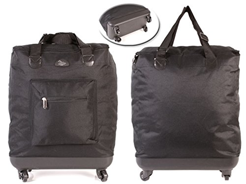 Elegant 2 wheels & 4 wheels shopping trolley shopper bag on wheels (4 WHEELED SHOPPER, plain black)
