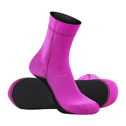 TZTED Herren Damen Neoprensocken Tauchsocken Schwimmen Füßlinge Beacksocken zum Surfen Tauchen Schnorcheln Strandschuhe Wassersport Surfschuhe,Pink,XS(35~36)