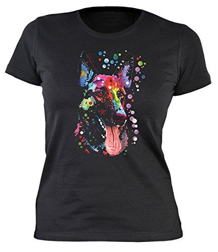 Damen T-Shirt mit buntem Hunde Motiv - Deutscher Schäferhund - German Shepherd - Hundebild - Geschenk für alle Tierliebhaber und Hundefans - schwarz (Kleidung Schäferhund Deutscher)