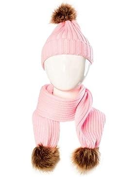 Wawer Cute Baby Winter Set Netter Hut Schal Warm halten für 0-36 Monate (Rosa)