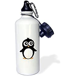 Sports Water Bottle Gift for Kids Girl Boy, Cute Penguin Black And White Cartoon Sweet Kawaii Adorable Fuzzy Baby Arctic Animal On White Stainless Steel Water Bottle for School Office Travel 21oz