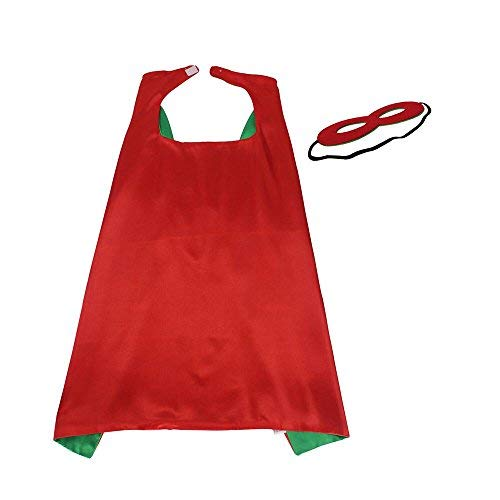 70 cm X 70 cm Kinder Superhero Kostüme doppelseitige Satin Cape und Maske für Kinder Fancy Dress Up Jede Party Favor (rot)