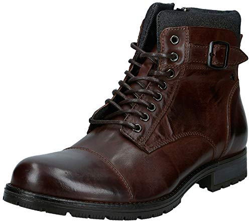 JACK & JONES Herren JFWALBANY Leather STS Biker Boots, Braun (Brown Stone Brown Stone), 45 EU