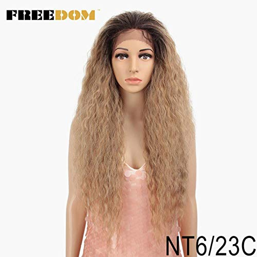 OLDK Synthetische Lace Front Perücke mit demBabyhaarOmbreBrown Afro verworrene lockige Perücken für Schwarze Frauen 30inch, NT6-23C, 30inches (Curly Brown Kostüm Perücken)