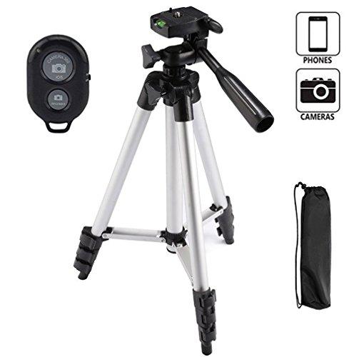 Preisvergleich Produktbild Kamera Stativ,You King 42 Zoll Telefon Stativ für Iphone und Smart Phone, Aluminium Stativ mit Fernbedienung(Silber)
